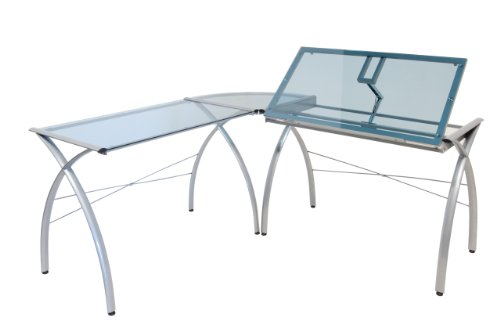 Studio Designs 50306 Futura LS Work Center with Tilt, Silver/Blue Glass
