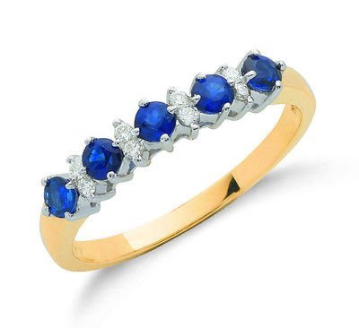 9ct Yellow Gold Real Sapphire and Diamond Eternity Ring 0.77ctw