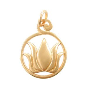 Round Cut Out Lotus Flower Pendant in Gold Vermeil, #8147