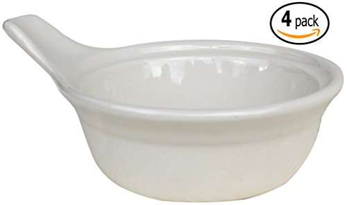 CAC Ceramic Single Serve Casserole Baking Dish with Handle and Pan Scraper, Set of 4, Bone White (15 Ounce) (Single Serve Microwave Dish compare prices)