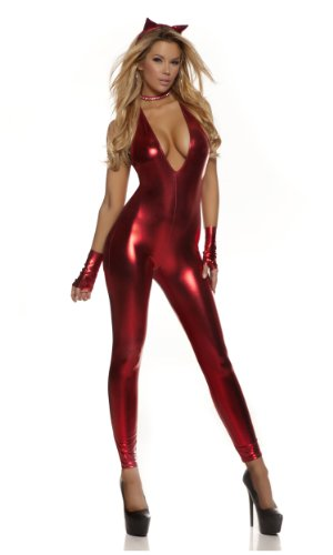 Forplay Women's Petite Cat Metallic Halter Catsuit with Ears and Gloves