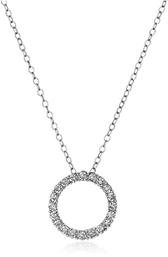 Sterling-Silver-and-Diamond-Circle-Pendant-Necklace-110-cttw-H-I-Color-I1-I2-Clarity-18