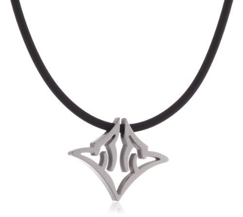 Pure Grey Signs No. 31379 Ladies' Necklace Rubber Cord with Titanium Bayonet Clasp and Titanium Pendant 45 cm