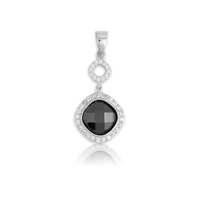 Classic Necklace Pendant Jewelry Sterling Silver Charm Large Black CZ Circle with Surrounding White Clear CZ (WoW !With Purchase Over $50 Receive A Marcrame Bracelet Free)