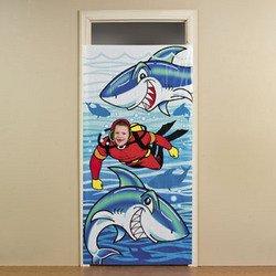 Shark Photo Op Door Banner/Party Decor/Prop/Scuba Diver/3' X 6'/Jaws Party/Shark Week front-504177