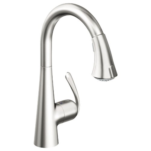 Grohe 32 298 SD0 Ladylux3 Main Sink Dual Spray Pull-Down Kitchen Faucet, RealSteel Stainless Steel