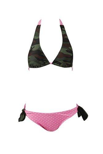 NSB603 2pc Bikini Set Camouflage Polka Dots Sz Large