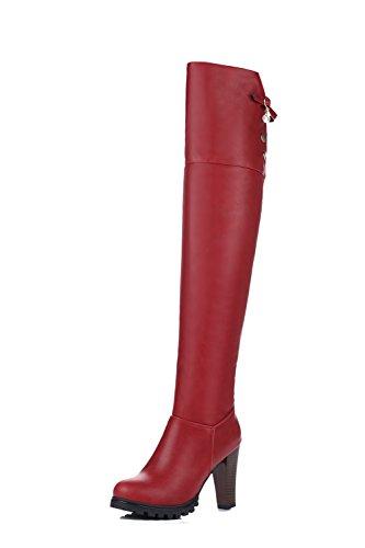 AgooLar Donna Cerniera Tacco Alto Alta Altezza Stivali con Metallo, Rosso, 37