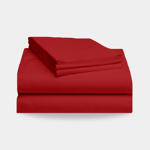Hotel Comfort 1800 Deep Pocket Bed Sheet Set (Red, Queen) front-953401
