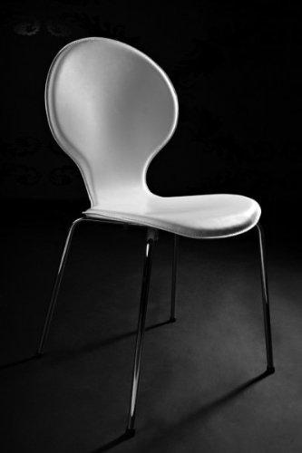 Designer sedia in pelle sintetica e acciaio cromato bianco, sedie della sala da pranzo, moderna poltrona del salotto