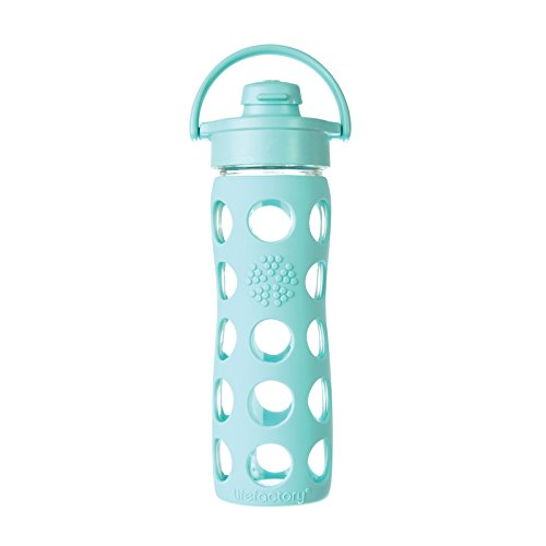 Lifefactory 16-Ounce Glass Bottle with Flip Cap and Silicone Sleeve, Turquoise