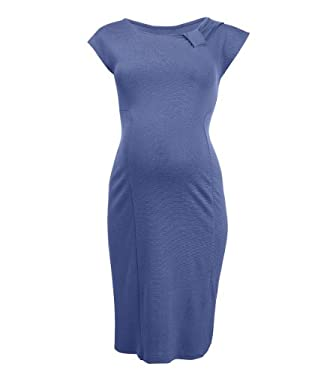 Maternity Ponti Bow Dress - Blue