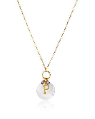 Diane Yang Swarovski Crystal P Initial Necklace