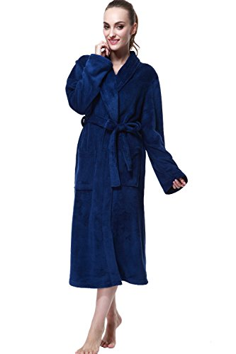 Bathrobe, Drowsy Cloud Soft Women Robe Plush Kimono Collar Bathrobe