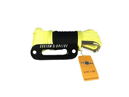 316-Diamond-Winch-Rope-ATV-UTV-Winch-Rope-with-Tube-Thimble-and-4875-Hawse-Fairlead-Yellow-Rope-Black-Fairlead