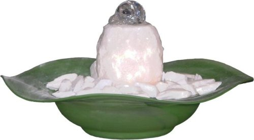 Cheap Table Fountains ~ White Crystal Rocks Tabletop Water Fountain with Green Bowl (B000NWGO0K)