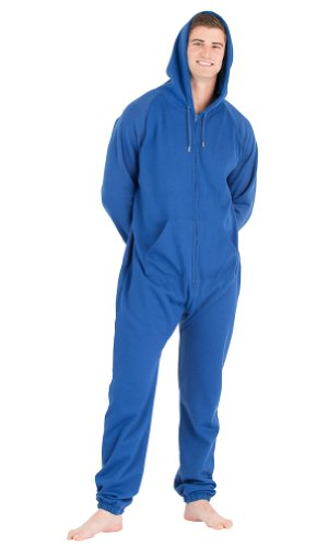 Footed Pajamas Marina Navy Adult Footless Hoodie One Piece - Large front-11014