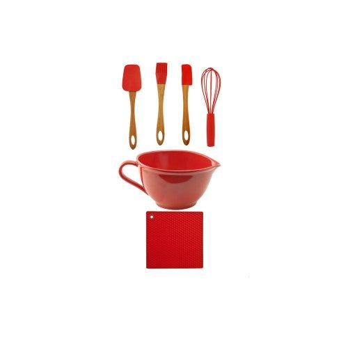C-Red Batter Bowl w/Trivet, Utensil Set