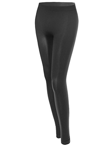 Basic Solid Seamless Leggings Charcoal Size M