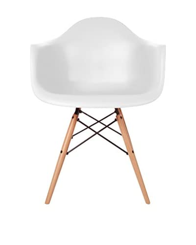 Macer Home Wood Legs Arm Chair, White