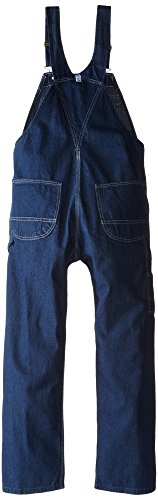 Key Apparel Men's Garment Washed Zip Fly High Back Bib Overall, Indigo Blue, 42x28