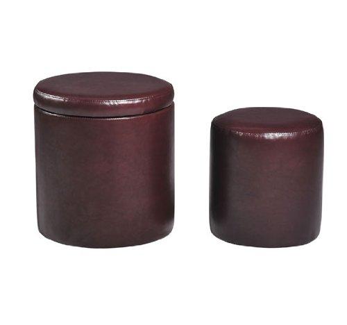 Light Brown Round Storage Ottoman with Bonus Inner Stool Seat Leather