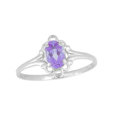 Teens Jewelry - Sterling Silver June Birthstone Ring (size 4)