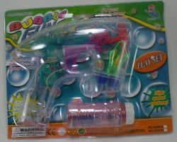 Battery Operated Novelty Light-up LED Transparent Bubble Gun (Colors May Vary) - 1