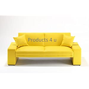 Yellow faux leather supra sofa bed best price leather for Yellow leather sofa bed