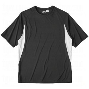 A4 Men's Short Sleeve Cooling Performance Color Block Tee, Black/White, XX-Large