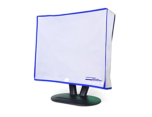 Computer Dust Solutions Monitor Dust Cover- Covers LCD, LED, Flat Panel and Plasma Displays and Screens- Silky Smooth Antistatic Vinyl- Translucent Coconut Cream Color