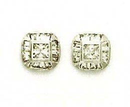 14ct White Gold Princess and Baguette CZ Fancy Earrings