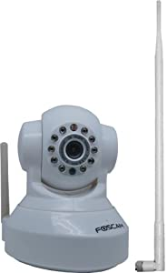 Foscam New Version FI8918W Wireless/Wired Pan & Tilt IP Camera with 8 Meter Night Vision and 3.6mm Lens (67° Viewing Angle) 2 Way Audio, Motion Detection Email Alert, Windows and Mac Compatible, with 9dbi Antenna - White