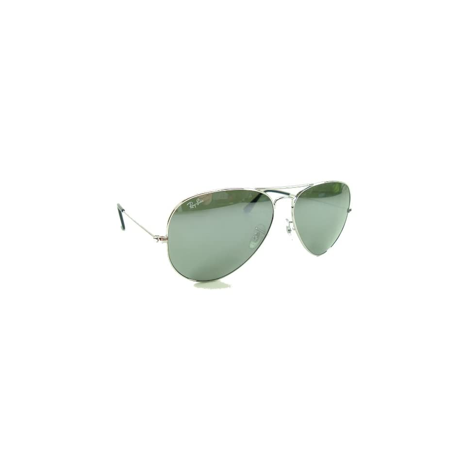 6a57d5c29f43 Ray Ban Large Metal Aviator Sunglasses 62mm Lens size Silver Color Frame  with G 31 Silver/Grey Mirror Lenses Ray Ban Safety Toughened Glass Lenses