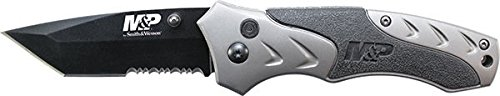 Smith & Wesson Military & Police Plunge Lock Folding Knife,3.1In Black Titanium Carbon Swmp7Tscp