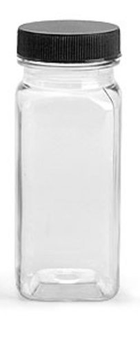 4 Oz Clear Plastic Square Bottle With Black Lid 6 Pk (Plus Bonus 2 Oz Bottle)