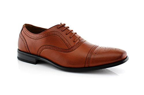 Delli Aldo Men's M-19006 Wing Tip Lace Up Leather Lining Oxford Dress Shoes (10 D(M) US, Brown) (Leather Dress Shoes Men compare prices)
