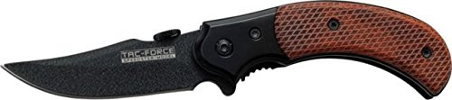 Tac Force 3.5In. Wood Fold Knife, Black Ss A/O Blade Tf-731Bw-S
