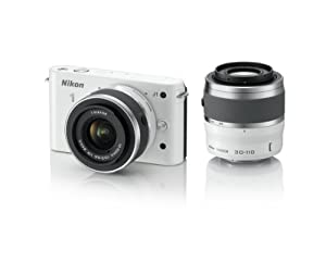 Nikon 1 J1 10.1 MP HD Digital Camera System with 10-30mm VR and 30-110mm VR 1 NIKKOR Lenses (White)