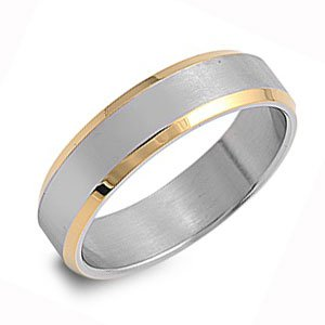 Ladies and Mens Stainless Steel Two Tone Wedding Ring Size 11