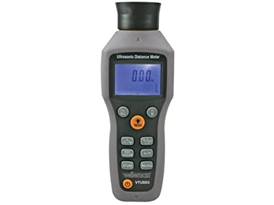 Velleman Ultrasonic Distance Meter with Laser Pointer, Back-lit LCD Display, Measures in Imperial and Metric and Calculates Area and Volume by Velleman