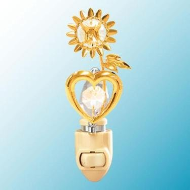 24k Gold Sunflower Heart Night Light - Clear Swarovski Crystal - 1