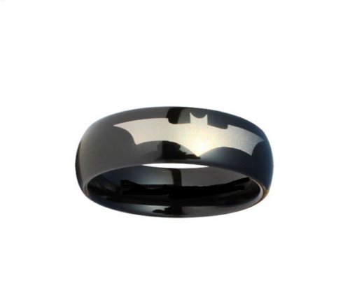 Batman Print On A Black Stainless Steel Dc Width 6 Mm Band Ring R380 Size 5 - 13