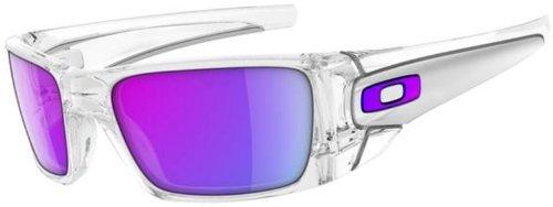 Oakley Fuel Cell Polished Clear/Matte Clear/Violet Iridium Lens Mens Sunglasses
