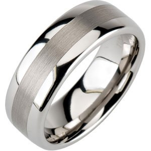 8.3mm Comfort Fit Dura Tungsten Domed Band Size 13.5