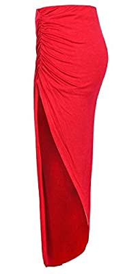 Womens Plain Ruched Style Side Split Viscose Jersey Stretchy Maxi Skirt