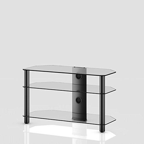 NEO 390-TN - Mueble de TV con 3 estantes y 90 cms de ancho. Vidrio Transparente / Chasis negro.