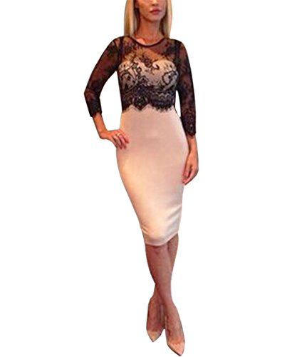 ISASSY Women's Lace stitching Hollow out long sleeve high waist Bodycon party prom midi Dress
