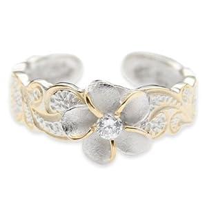 Hawaiian Sterling Silver Plumeria Flower CZ Toe Ring Jewelry