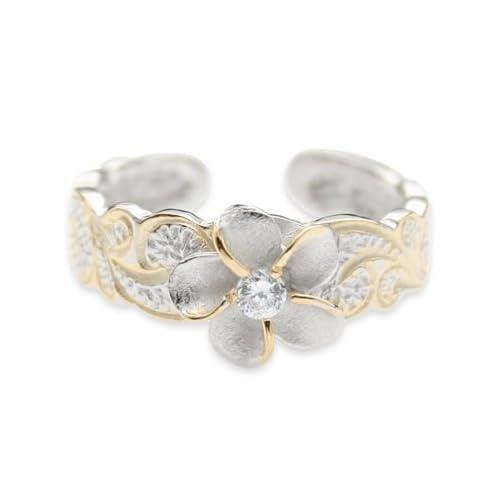 hawaiian sterling silver plumeria flower cz